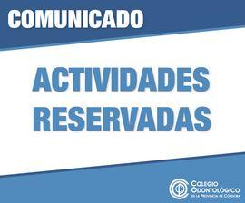 Comunicado Actividades Reservadas